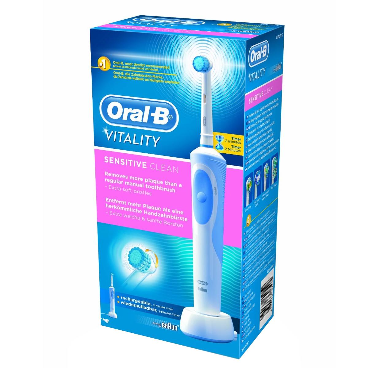 braun oral b vitality sensitive clean wiederaufladbare. Black Bedroom Furniture Sets. Home Design Ideas