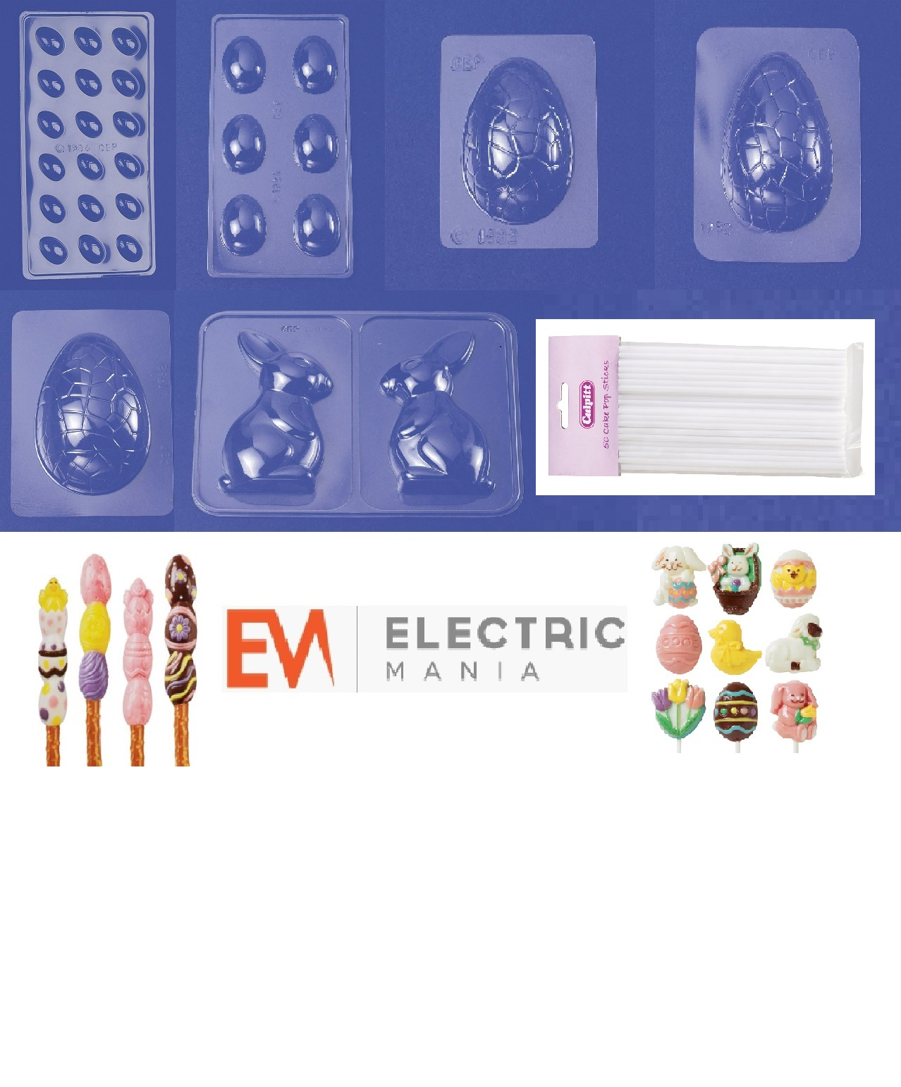 Easter Egg & Lollipop Making Set Machine with Chocolate Melting ...