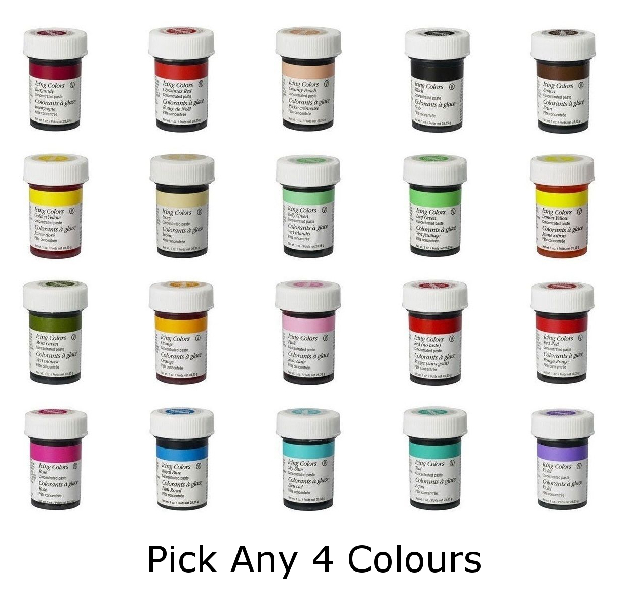 Wilton Food Colour Icing Color Concentrate Gel Dye Paste ...