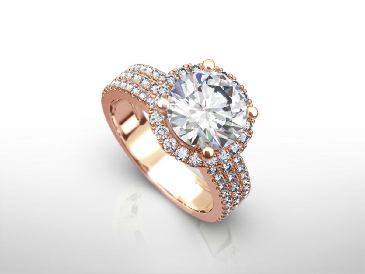 GENUINE 4 00 CARAT D SI1 3 ROWS ROUND DIAMOND RING 14 KARAT RED ROSE GOLD