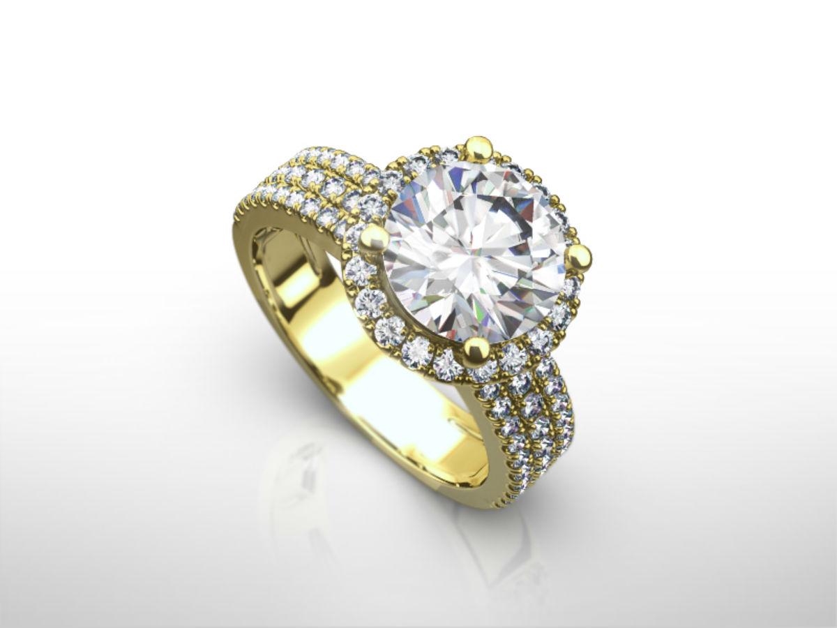 ENCHANTING 3 50 CARAT D VS1 3 ROWS ROUND DIAMOND RING 14 KARAT YELLOW GOLD