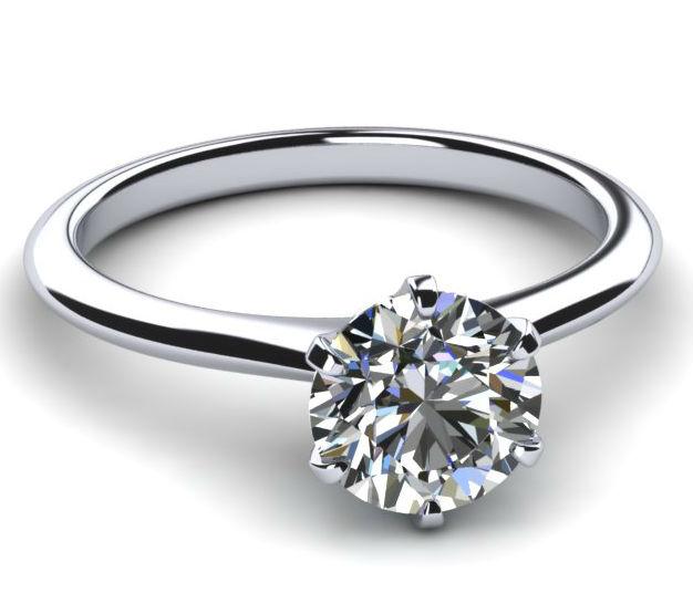 07 CARAT WOMEN 18K WHITE GOLD 6 PRONGS DIAMOND ROUND RING SIZE 65