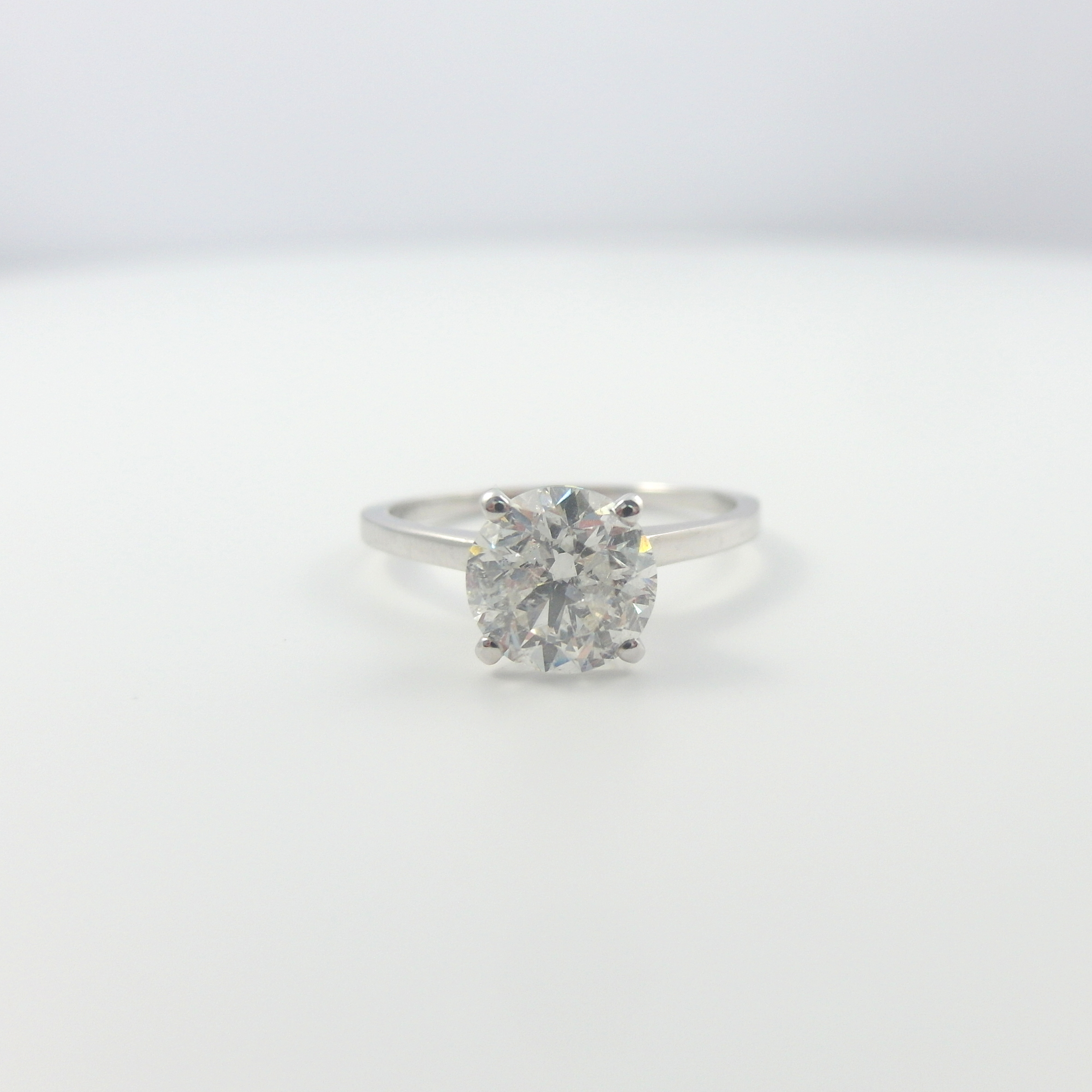 DIAMOND RING CERTIFIED 3 1 2 CARAT ESTATE 14 KARAT WHITE GOLD SIZE 5 5 6 5 7