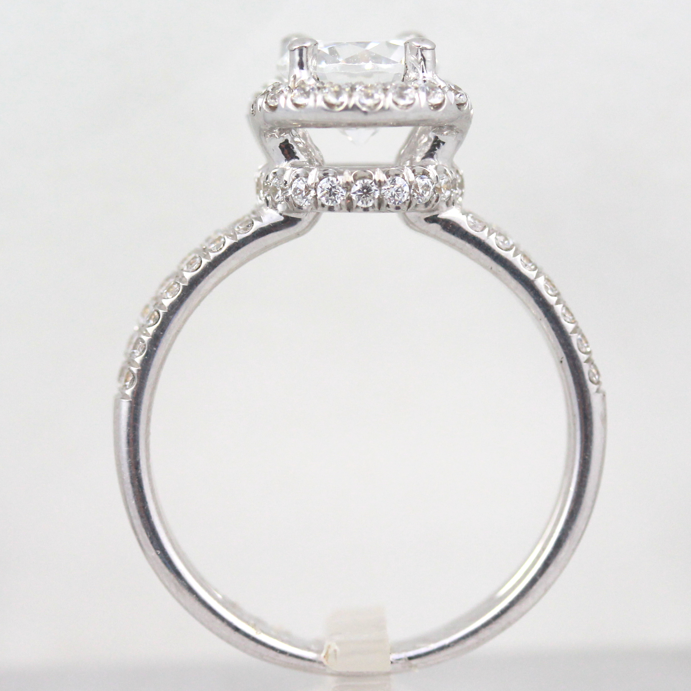Halo Diamond Ring 4 Prongs 2 Ct 14 Kt White Gold Two Rows Size 45 6 75 9