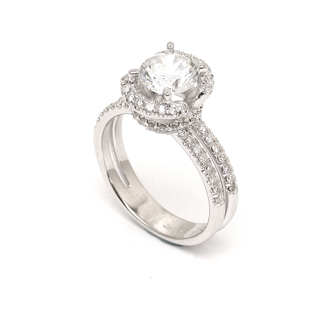 halo diamond ring 4 prongs 2 ct 14 kt white gold two rows. Black Bedroom Furniture Sets. Home Design Ideas