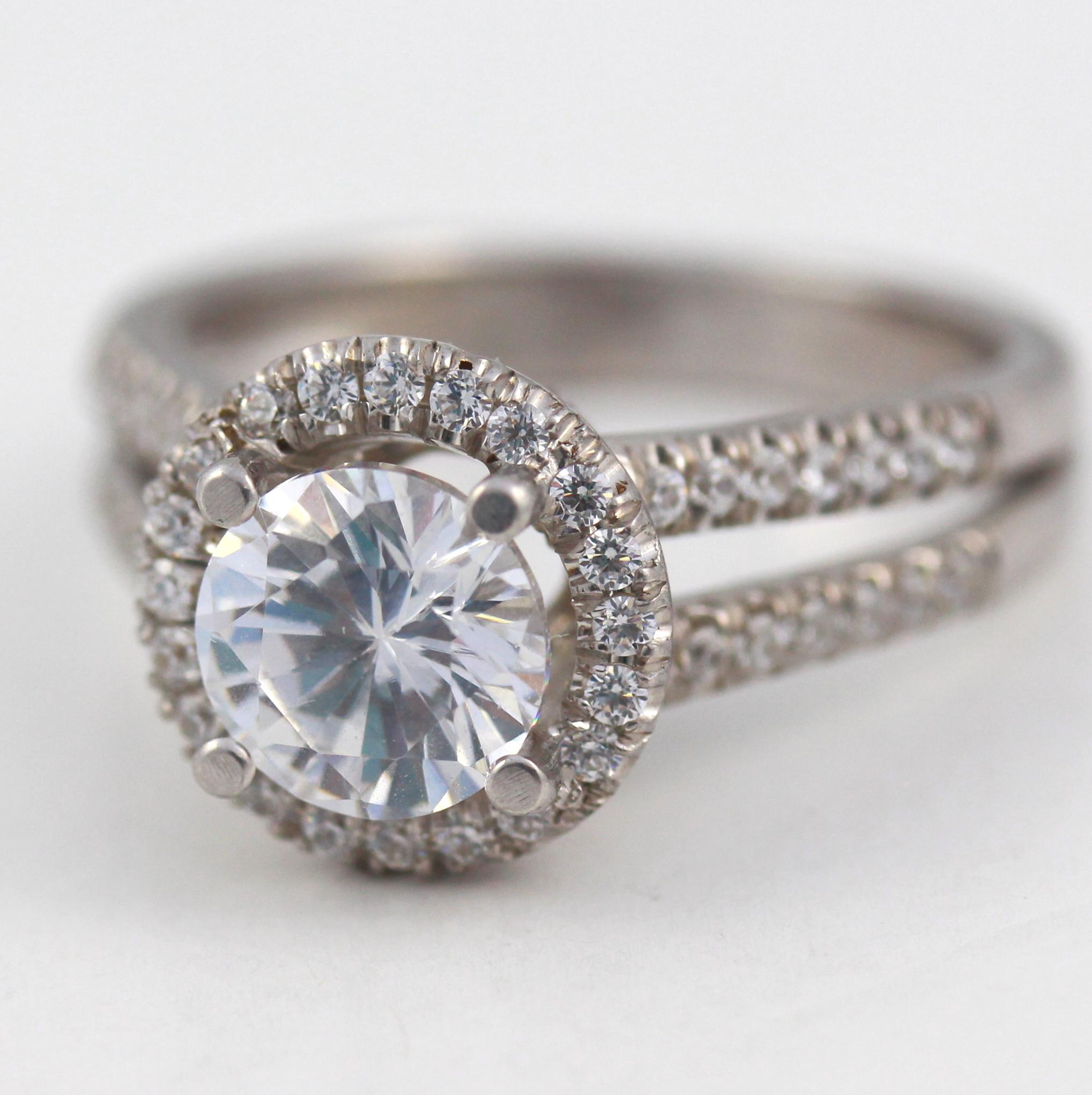 2 2 CT WOMENS 4 PRONG DIAMOND HALO RING 14 KARAT WHITE GOLD REAL SIZE 6 7 8