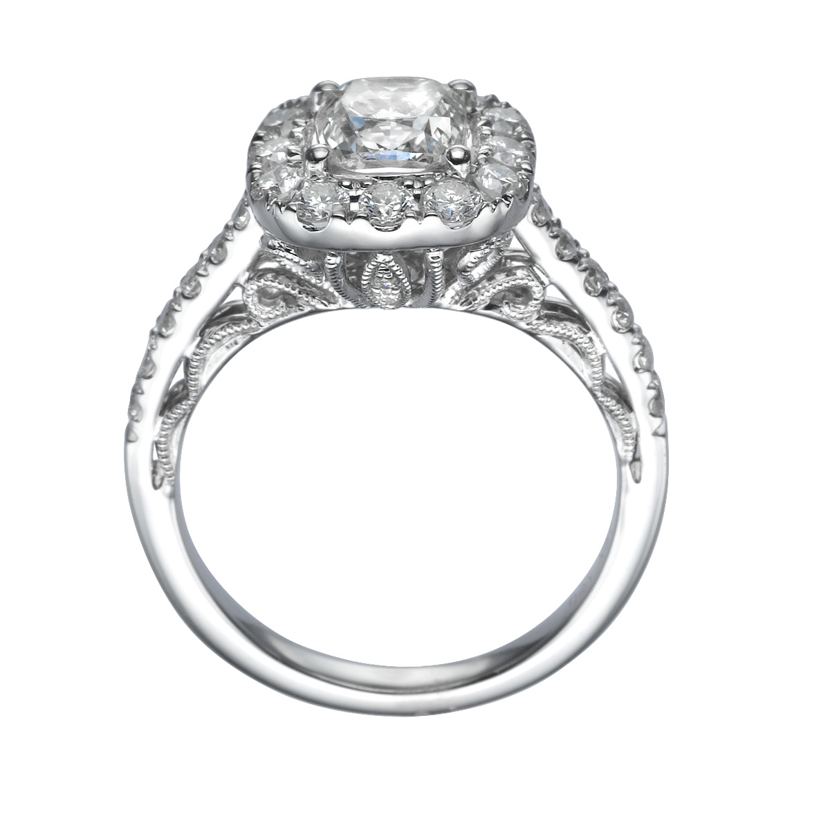 Halo Anniversary Bands: CERTIFIED FILIGREED 2 CT VVS ANNIVERSARY DIAMOND HALO RING