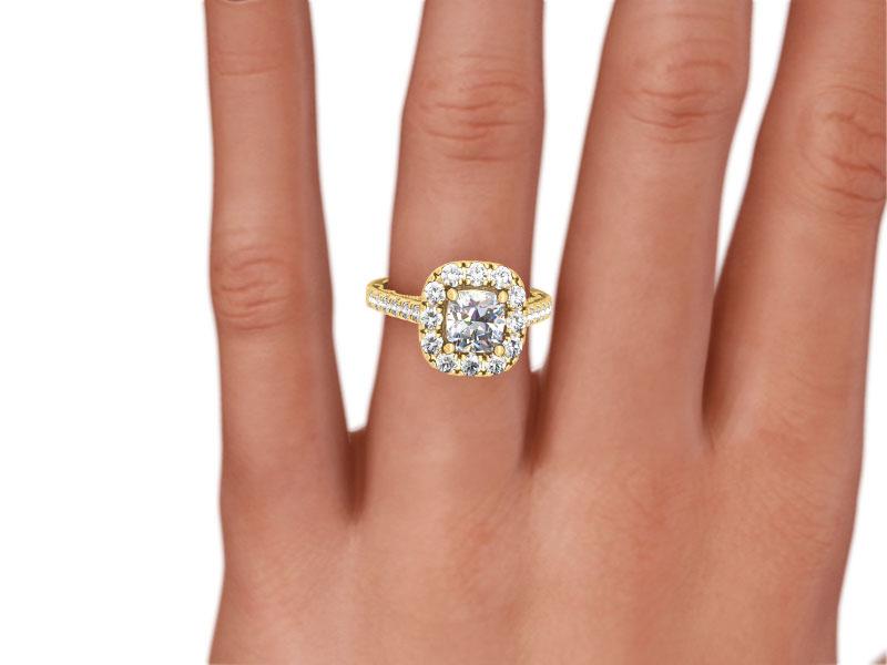 diamond halo ring si2 d genuine 18k white - Size 4 Wedding Rings