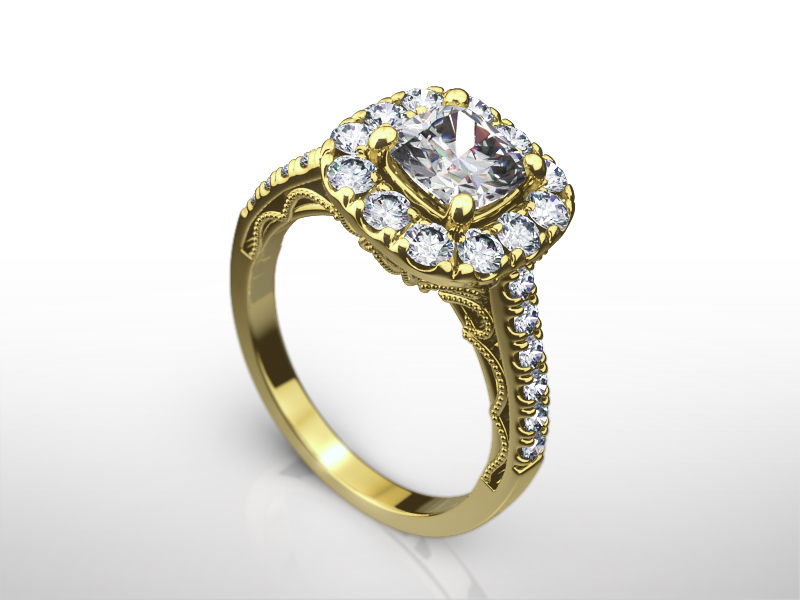 DIAMOND RING HALO SI2 LADIES 18K YELLOW gold ACCENTED 1.8 CT SIZE 5.5 6.5 7 9