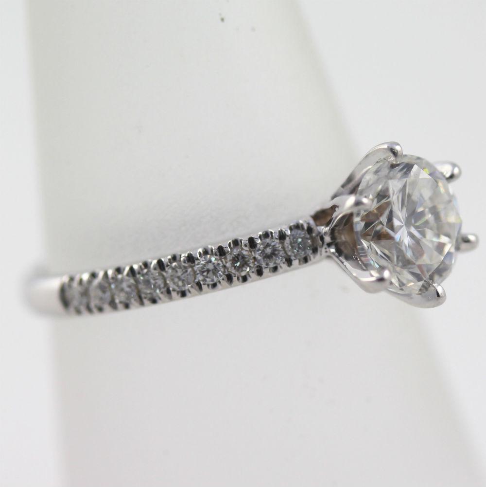 DIAMOND RING ROUND SHAPE VS D 14 KARAT WHITE GOLD 2 7 CARAT SIZE 5 5 6 5 7 5