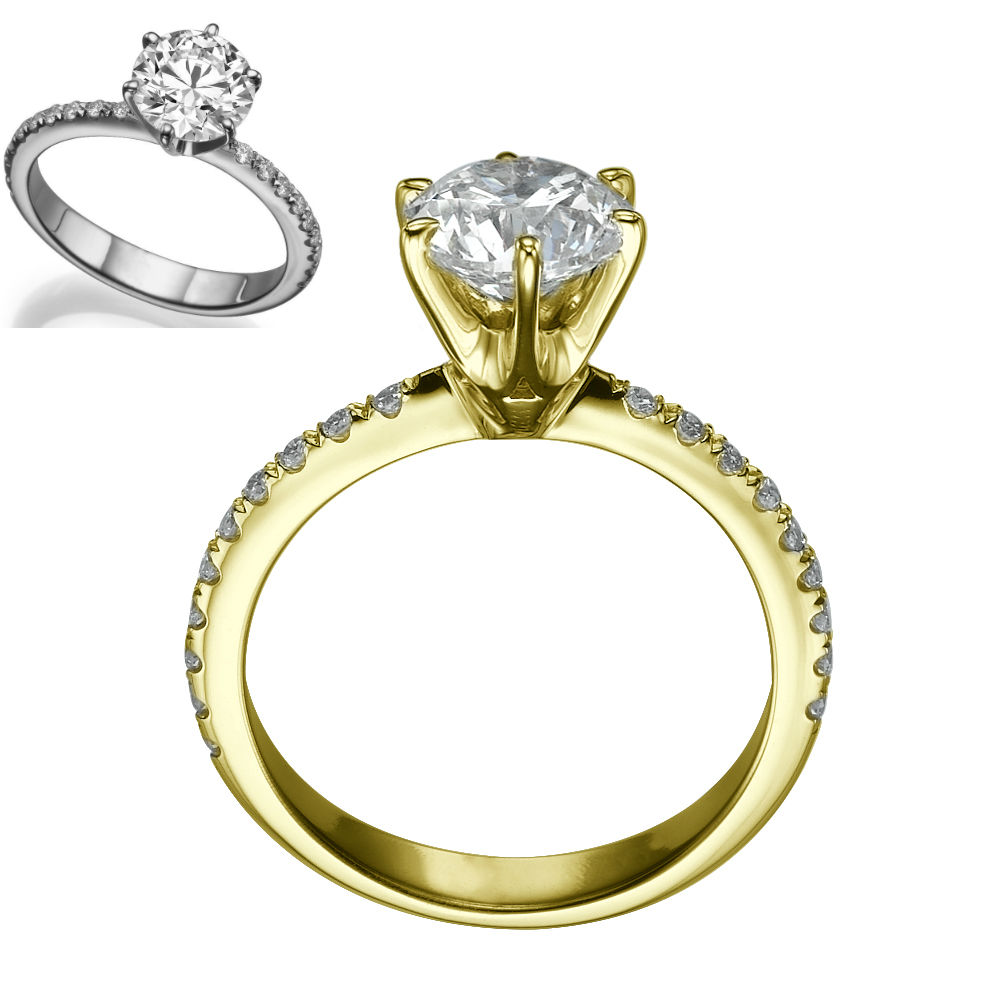 round diamond ring carat 18 kt yellow gold 6 prongs si1 rb size 4 5 6 7 5 9 ebay. Black Bedroom Furniture Sets. Home Design Ideas