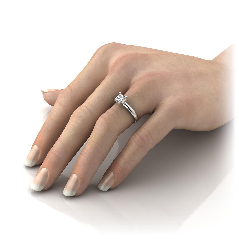 diamond ring princess shape women 14 karat rose gold red 1.05