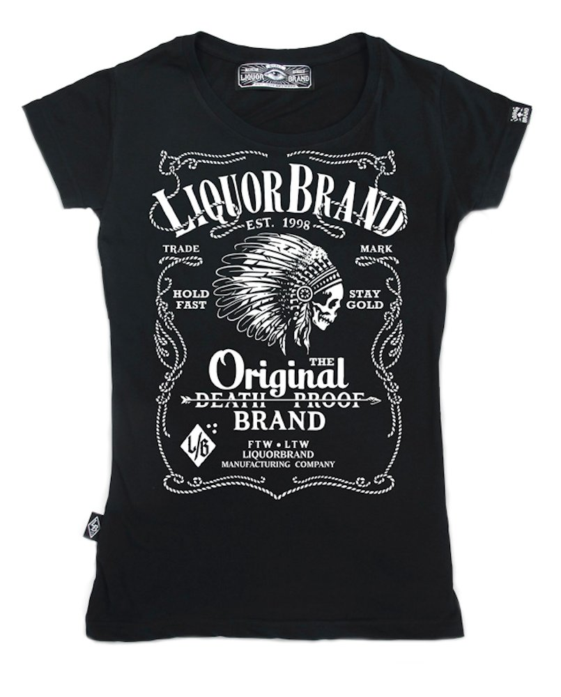 Liquor brand womens fire water tshirt black original death for On fire brand t shirts