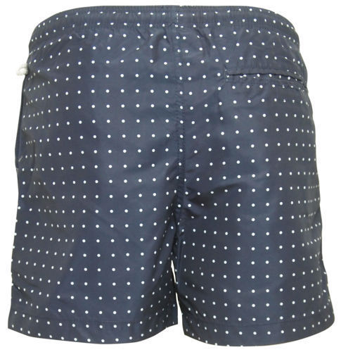 Mens Navy With White Polka Dots Swim Shorts With Mesh