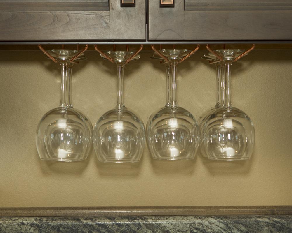 wine glass rack under cabinet stemware holder holds 6 to. Black Bedroom Furniture Sets. Home Design Ideas