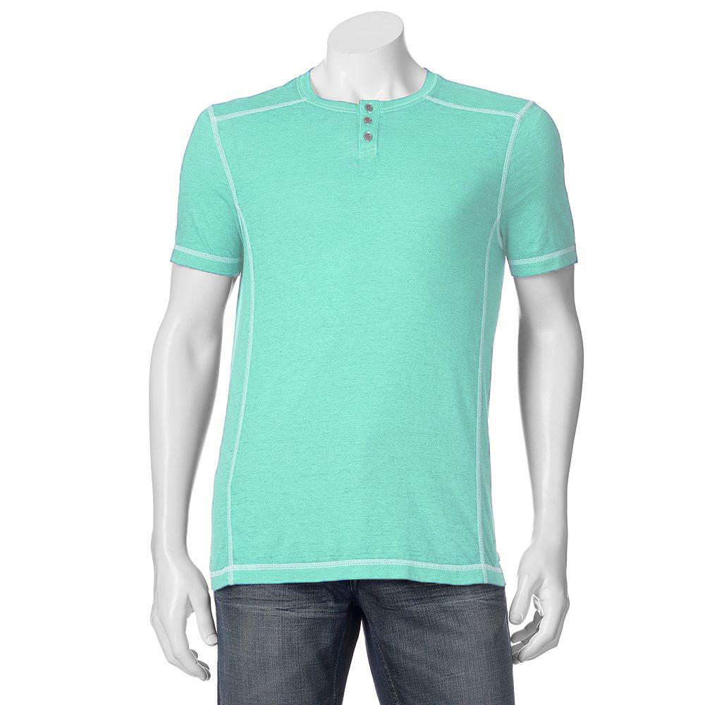 Big tall helix burnout henley men t shirt ebay for Mens xl tall henley shirts