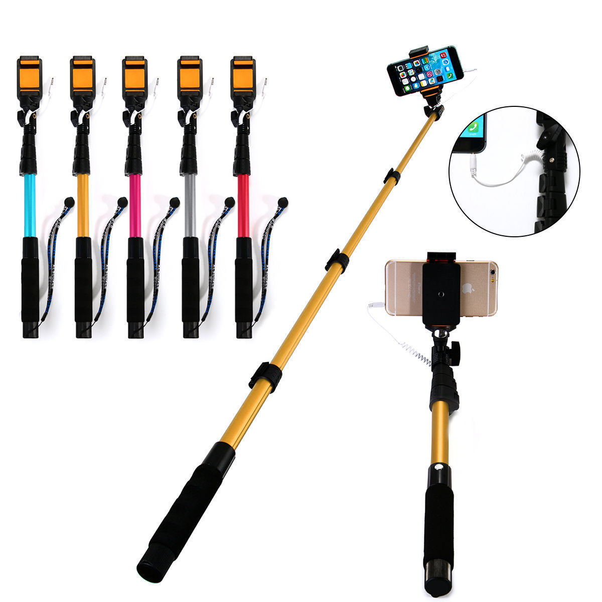 wired selfie stick extendable monopod mirror handheld for iphone 6 plus 6 5s. Black Bedroom Furniture Sets. Home Design Ideas