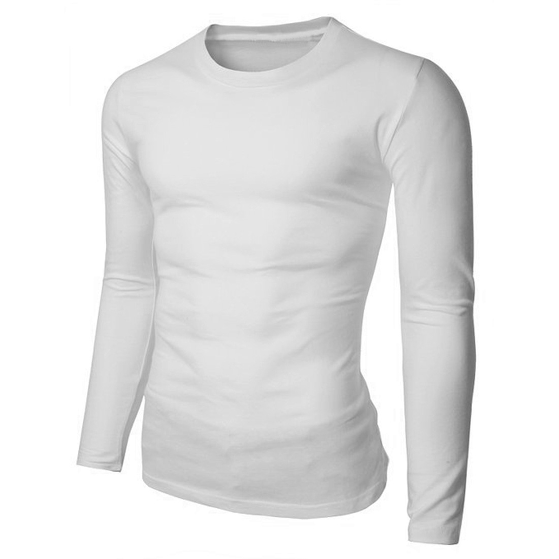 Men Cotton Basic Tee Long Sleeve V Neck Solid T Shirts