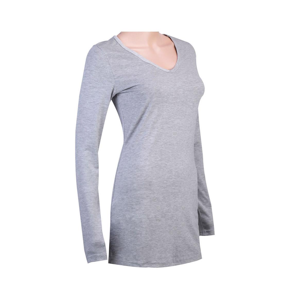 Women cotton basic tee long sleeve v neck crew neck slim for Basic shirts for women