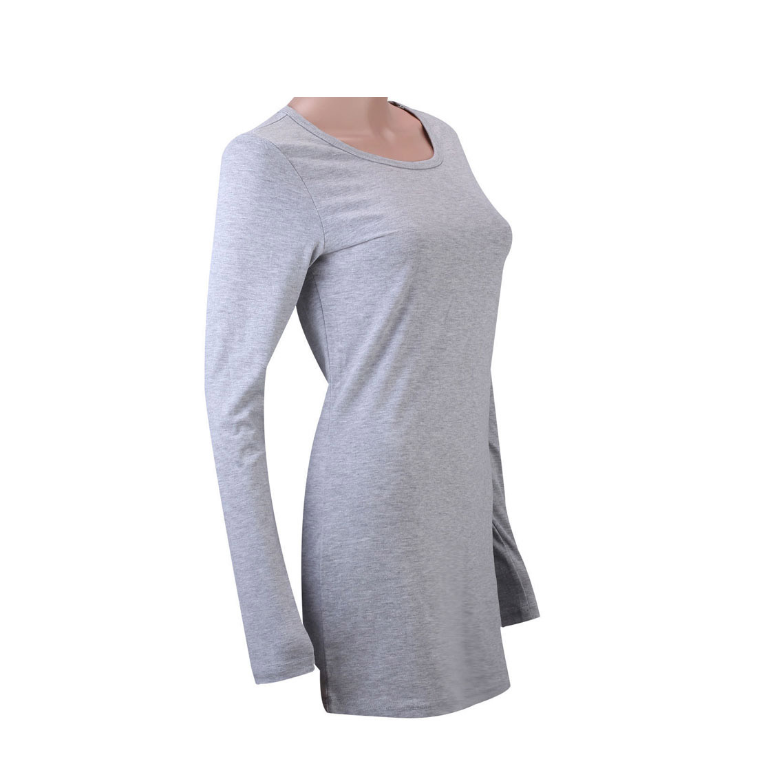 Women Cotton Basic Tee Long Sleeve V Neck Crew Neck Slim