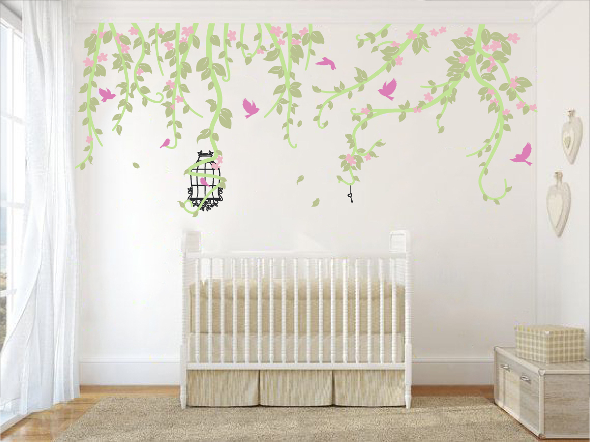 Flowery vines and birdcage wall decal the decal guru amipublicfo Images