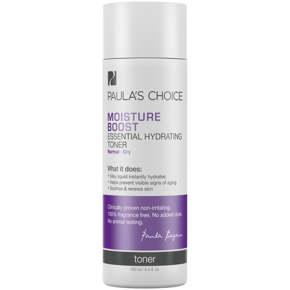 Paula's Choice MOISTURE BOOST Essential Hydrating Toner Moisture Boost Essential Hydrating Toner takes the concept of toner to a whole new skin-beneficial level. When used after cleansing it helps skin restore and repair itself. It works immediately to soothe and supply skin with a wide complement of antioxidants and skin-identical ingredients it needs to look and feel its young, healthy best. Of course, Moisture Boost Essential Hydrating Toner removes last traces of makeup as most toners do, but unlike toners most other cosmetic companies sell, this alcohol-free formula reduces inflammation and helps reinforce a healthy barrier function. From the first use skin is beautifully soft and refined. This toner is 100% fragrance- and colorant free.