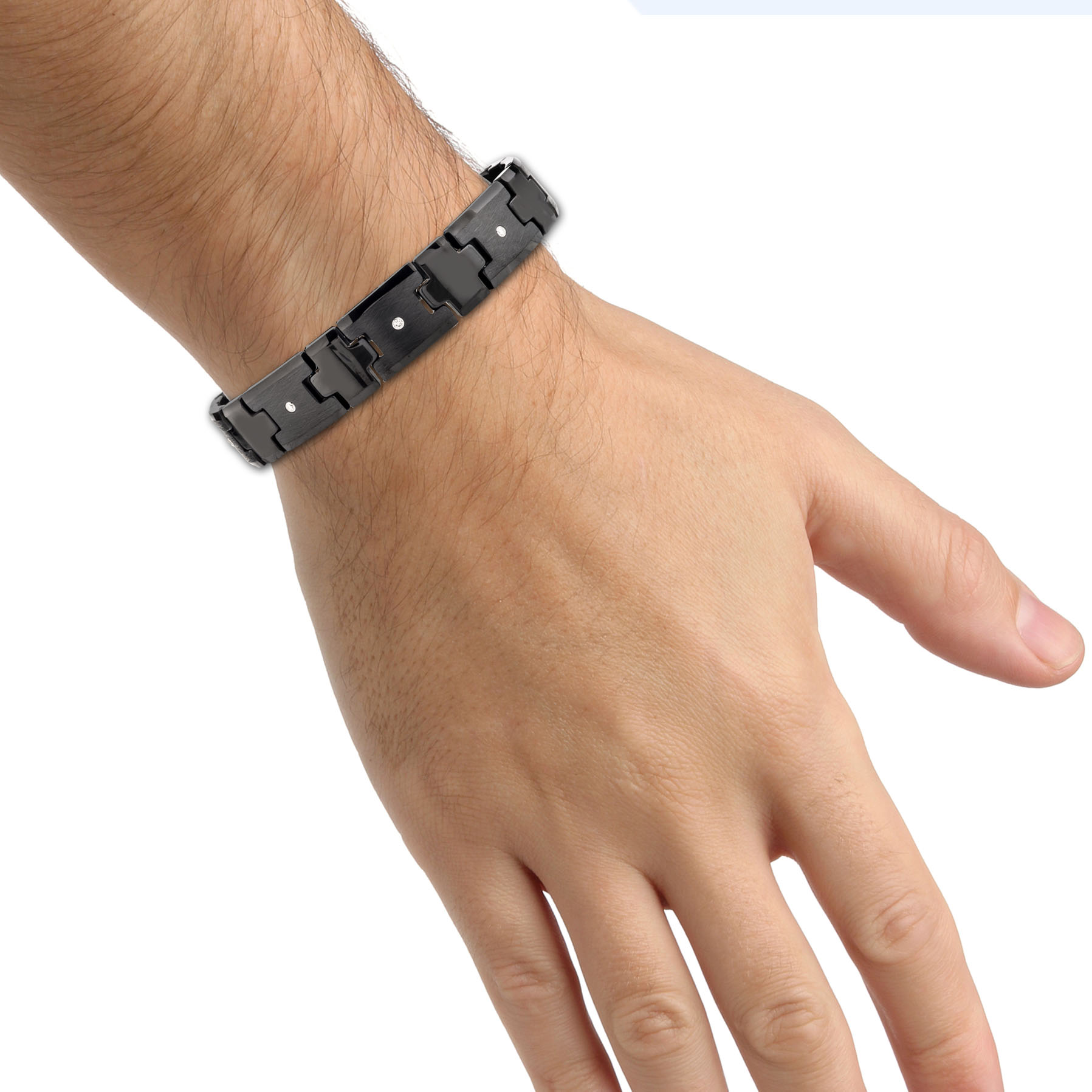 magnets with over mens p links view tungsten bracelet high polished quick and fold clasp