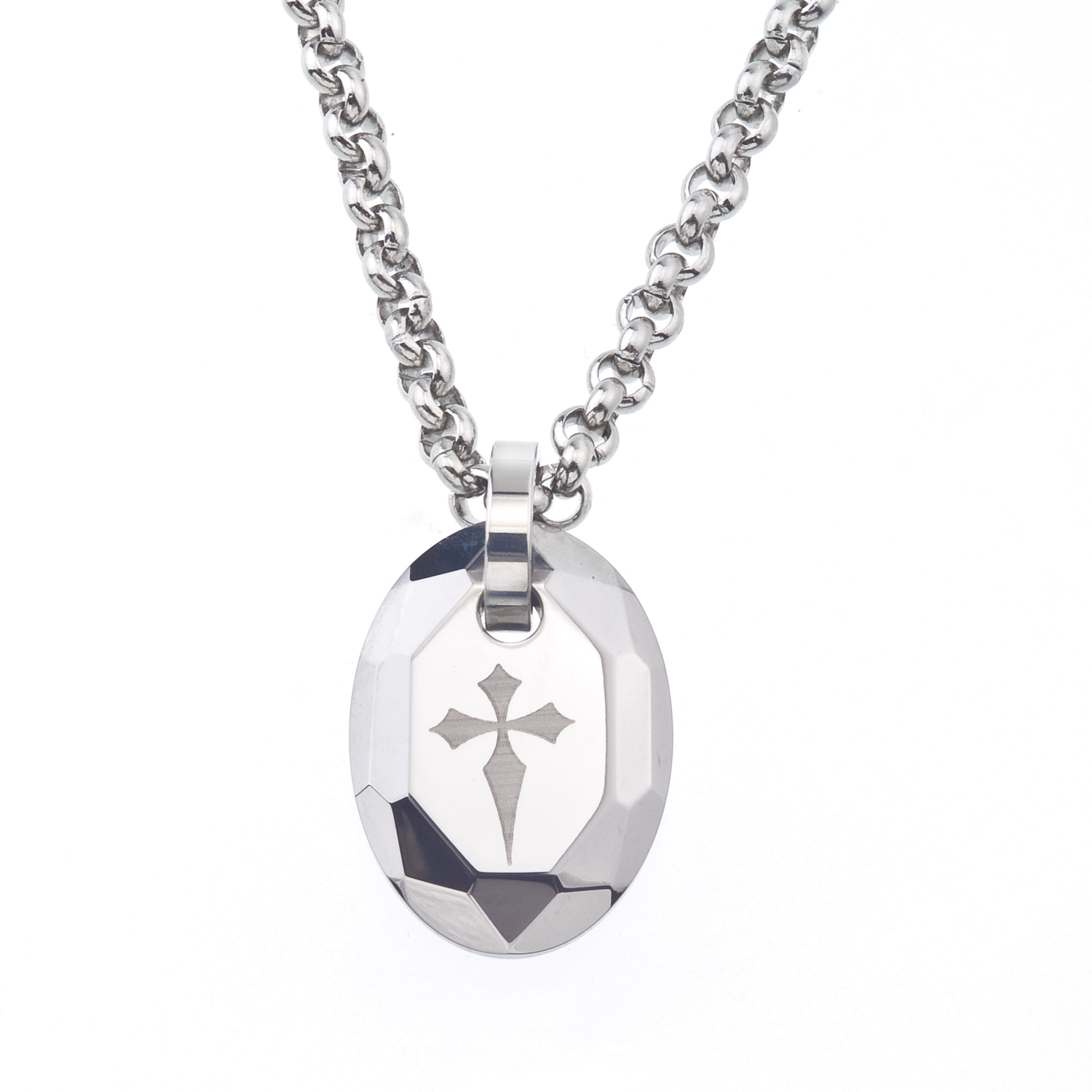 s tungsten and steel engraved cross oval necklace