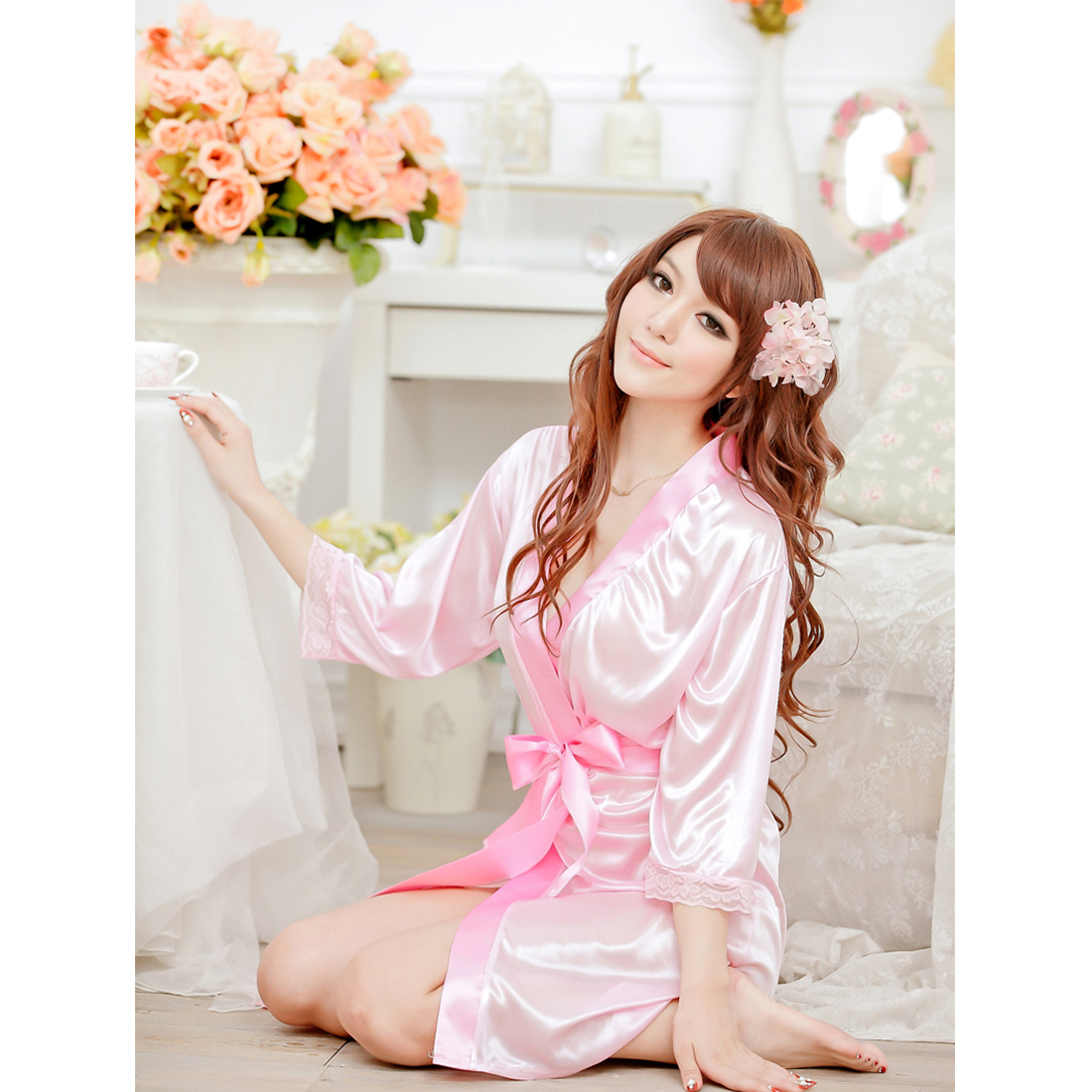 Womens Lingerie Lace Dressing Gown Satin Robe Chemise Nighties G ...
