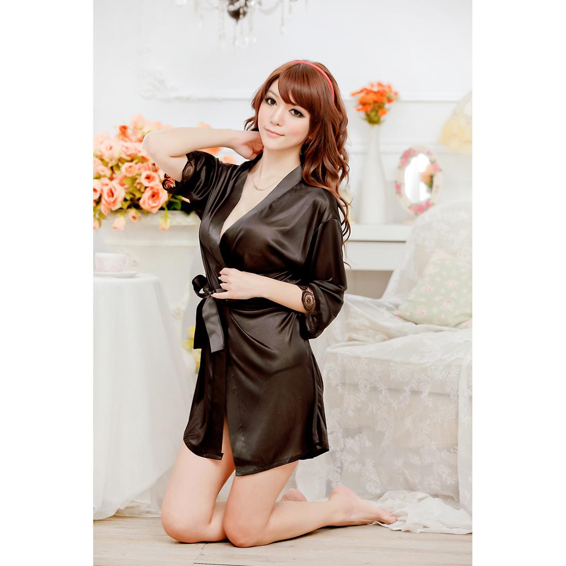 Womens Lace Dress Robes Nightgown G-string Satin Belt Kimono ...