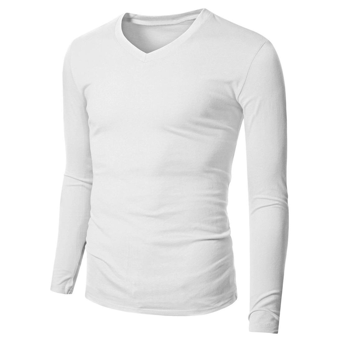 Mens cotton long sleeve t shirt v neck fitted plain casual for Mens plain v neck t shirts