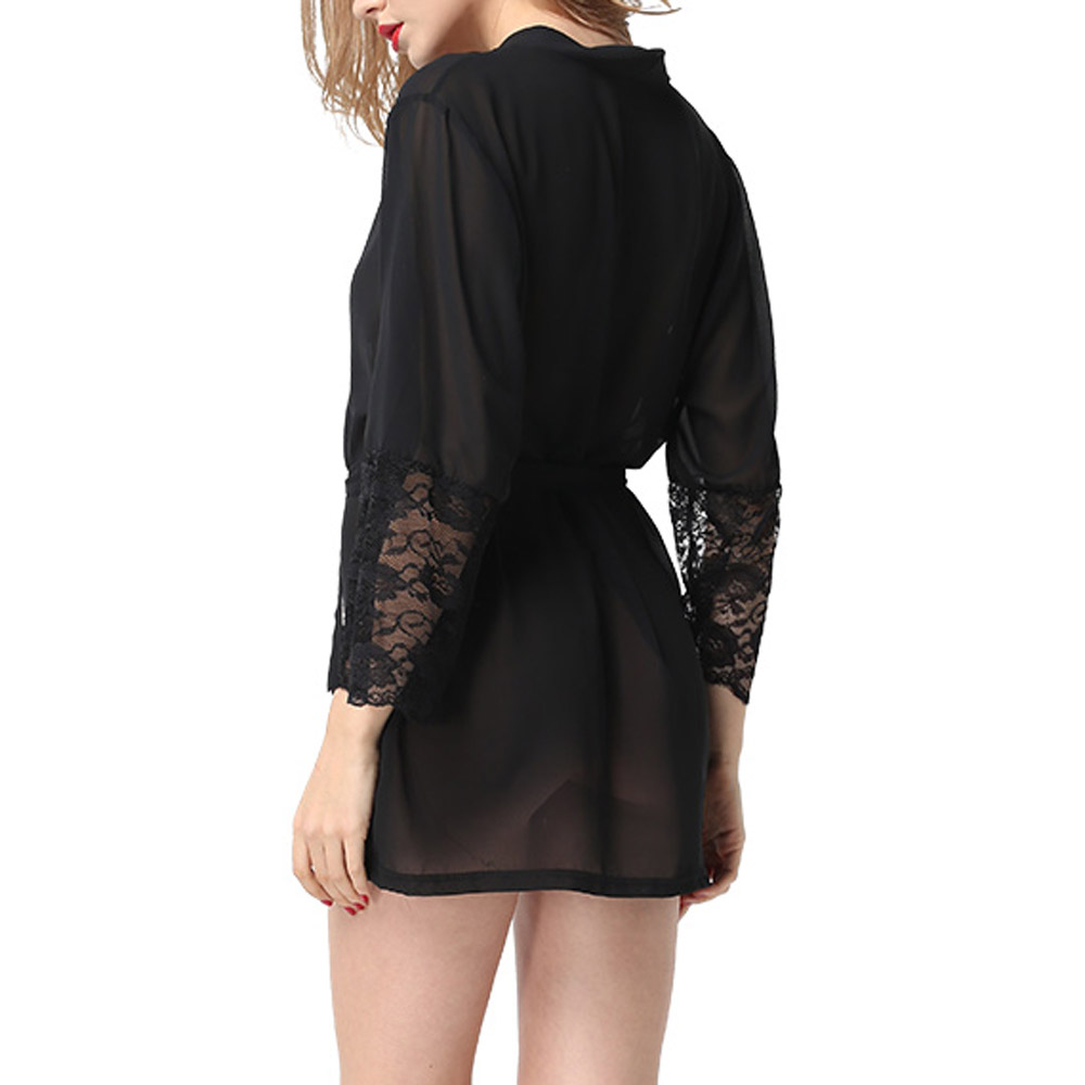womens 3 4 sleeve kimono robe bathrobe bath robes nightgown sleepwear ebay. Black Bedroom Furniture Sets. Home Design Ideas