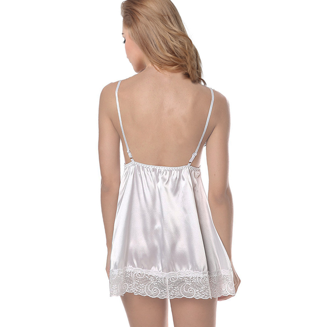 Womens Sleepwear White Lace Satin Chemise Nightwear ...