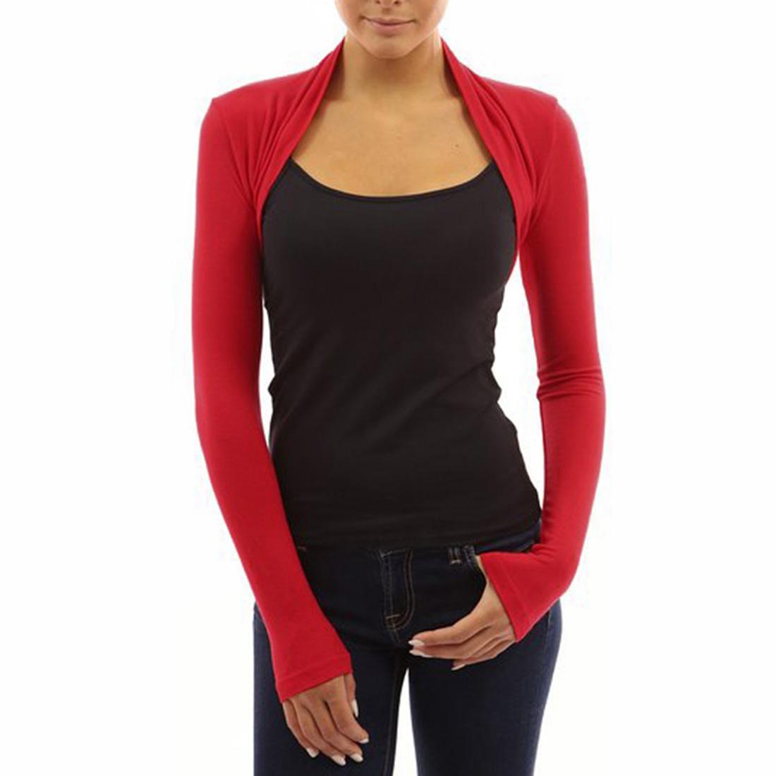 Womens Long Sleeve Bolero Shrug Knit Stretch Cropped Cardigan Top ...