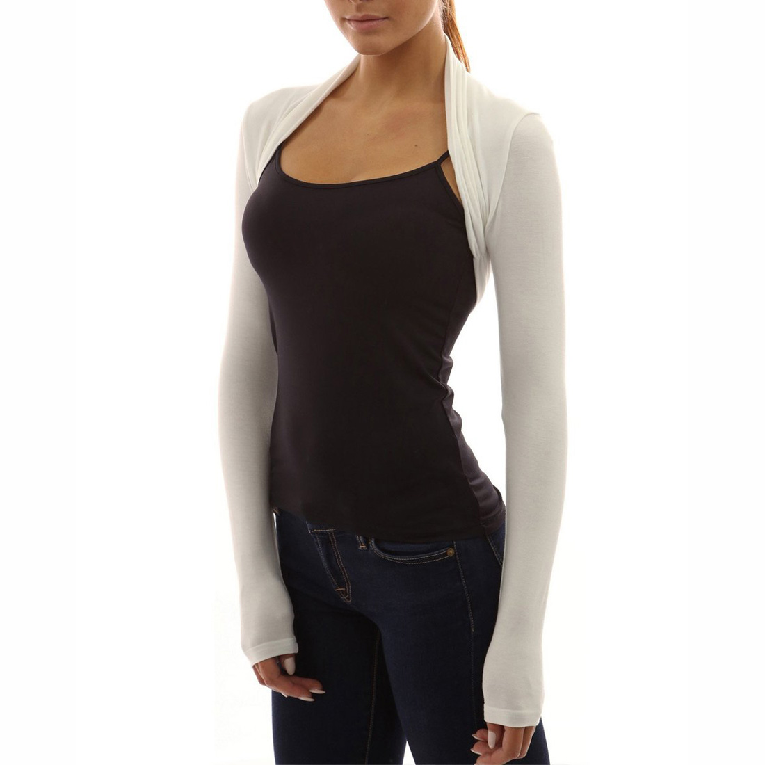 Long Sleeved Shrug Knitting Pattern : Womens Long Sleeve Bolero Shrug Knit Stretch Cropped Cardigan Top Sweater eBay