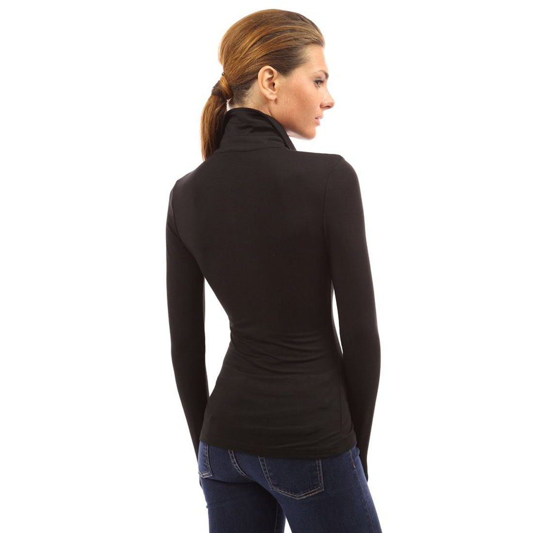 Womens v neck long sleeve polo shirt slim fit casual for Long sleeved casual shirts