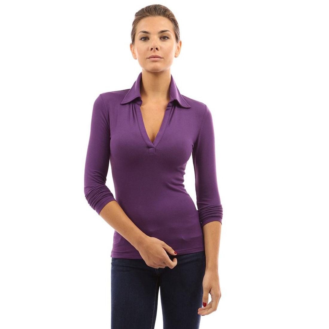 Womens v neck long sleeve polo shirt slim fit casual for Long sleeve purple polo shirt