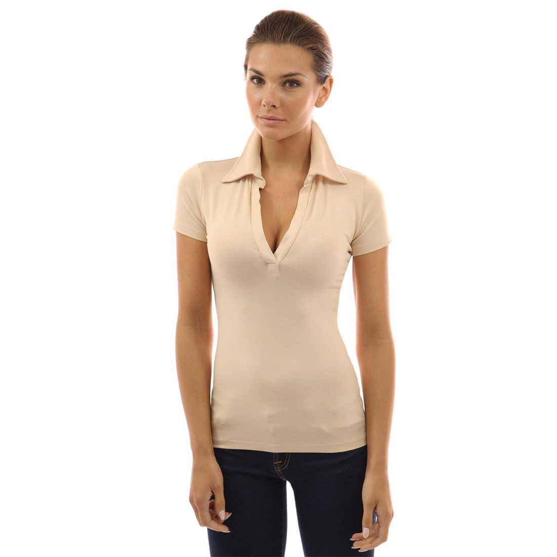 Womens v neck long sleeve polo shirt slim fit casual for Women s broadcloth shirts