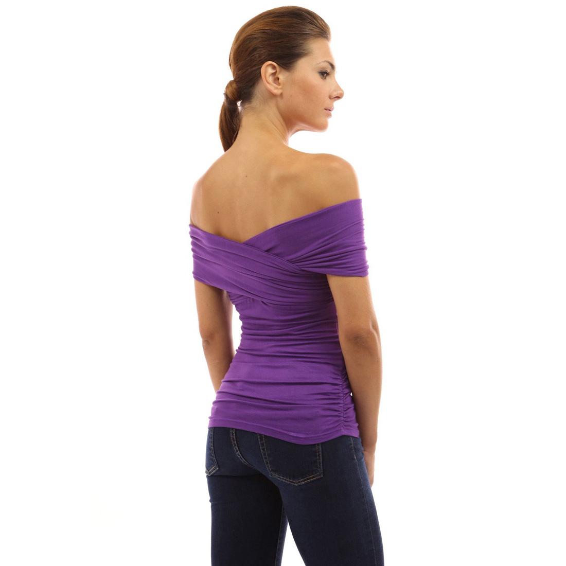 Womens Off Shoulder Top Casual Shirt Blouse Summer Evening ...