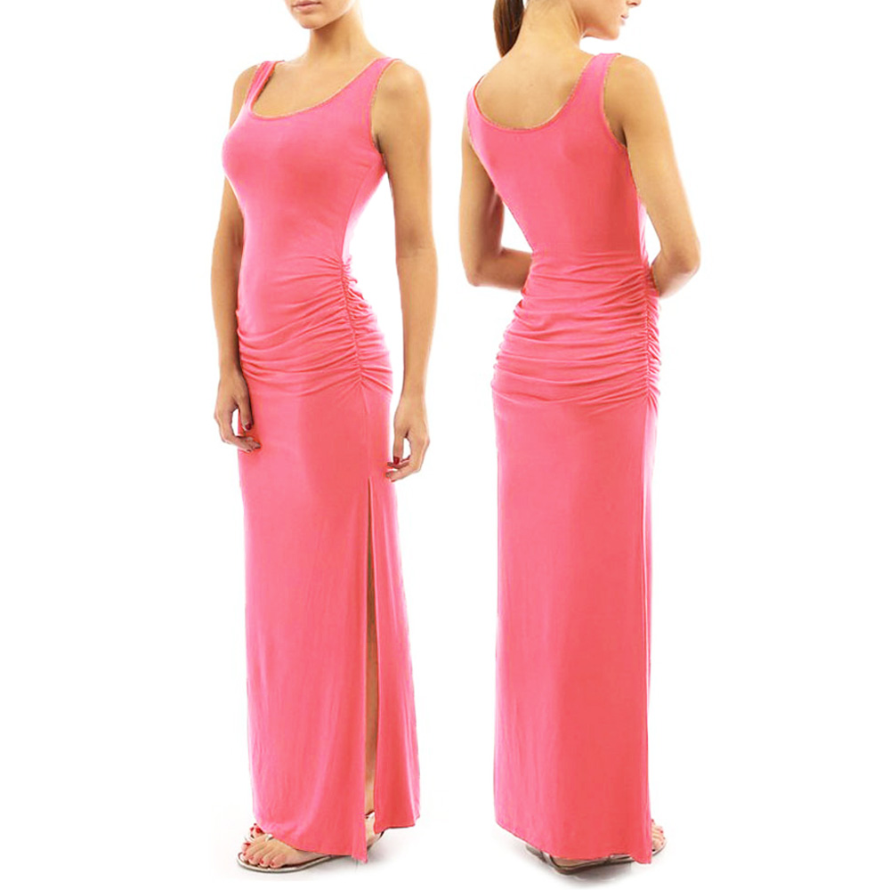 Womens bridesmaid formal evening bodycon sleeveless long for Shoes for maxi dress wedding