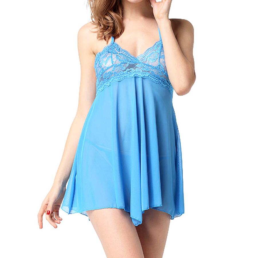 Womens Sleepwear Sheer Lace Chemise and G-String Nightwear ...