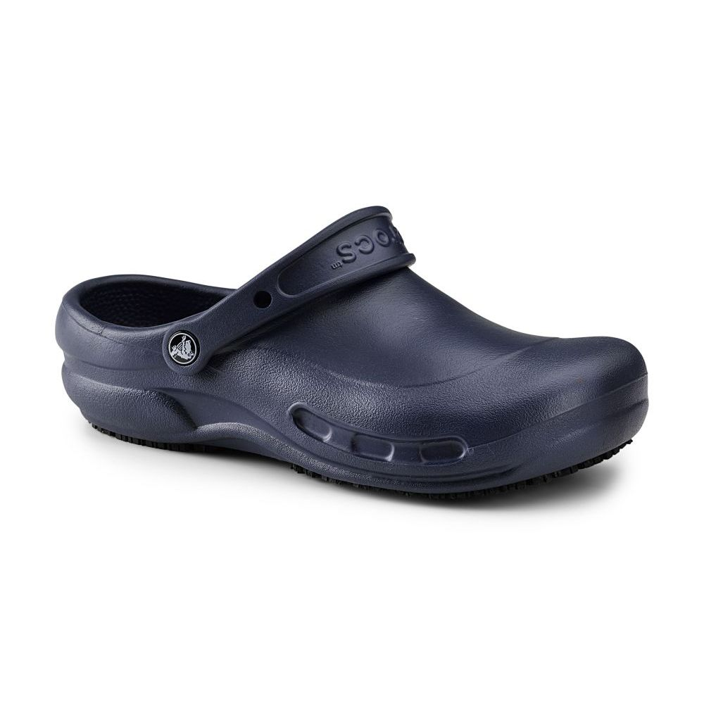 NEW! Crocs SureGrip Unisex Slip Resistant Bistro Navy Work Clogs | EBay