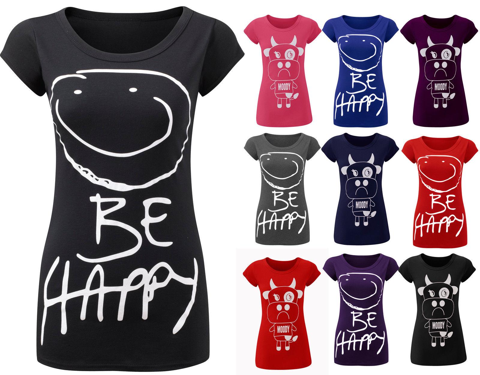Ladies Be Happy Cap Sleeve T Shirt Womens Printed Slogan Tee Top Plus Sizes 8-16