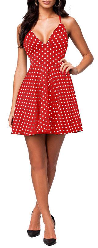 Ladies Spotty Bralet Swing Dress Womens Strappy Polka Dot Skater Sundress 8-18