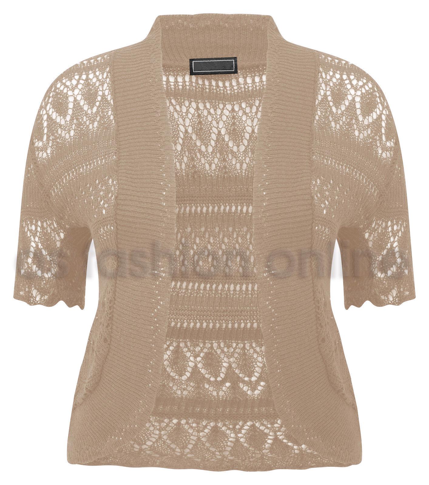 Ladies Womens Plus Size Crochet Knit Bolero Shrug Size 16 18 20