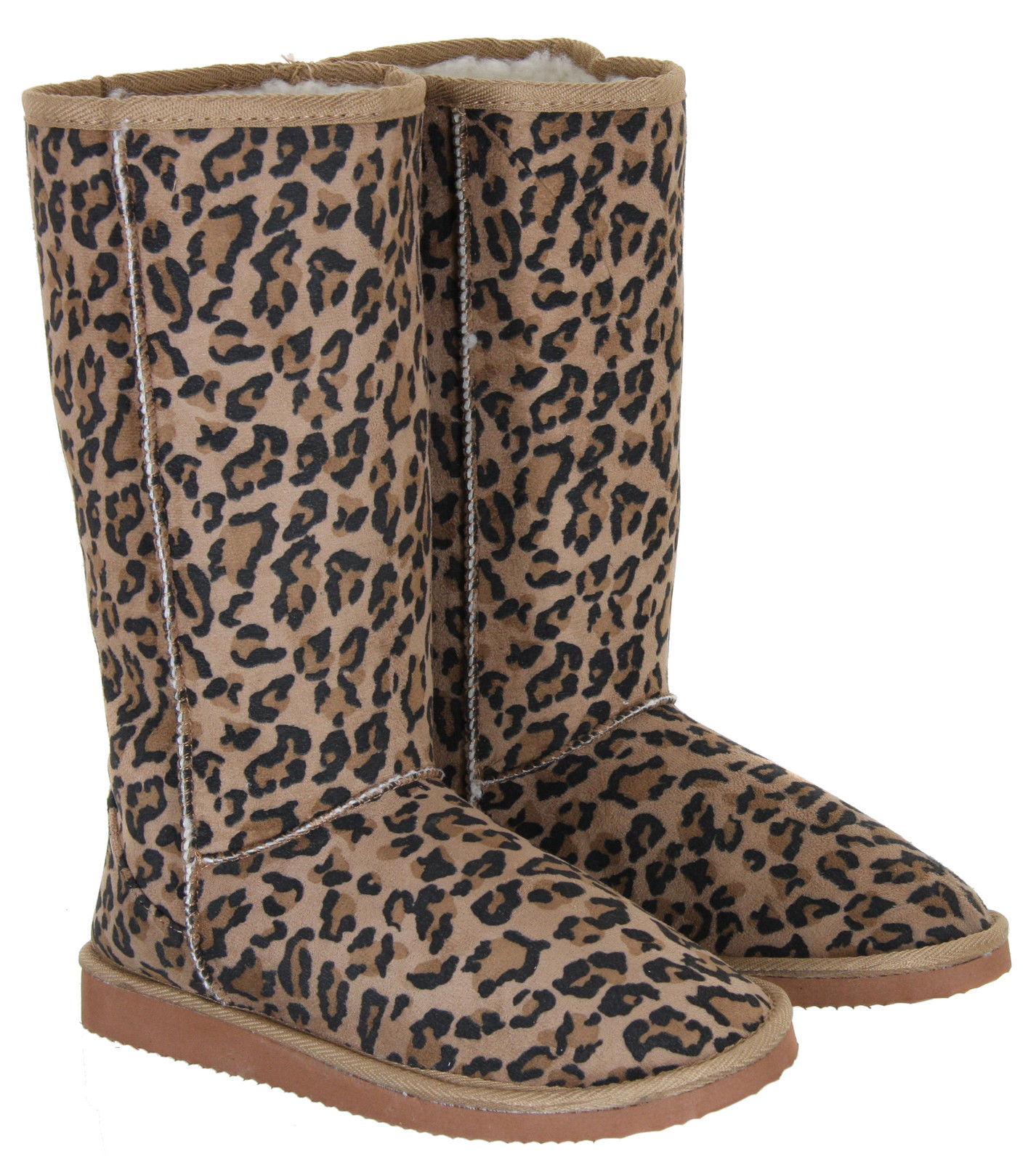New-Ladies-Womens-Faux-Suede-Fur-Lined-Leopard-Animal-Print-Boots-Sizes-3-8