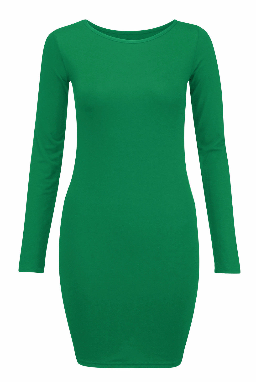 New-Womens-Long-Sleeve-Bodycon-Dress-Ladies-Jersey-T-Shirt-Top-Plus-Size-UK-8-22