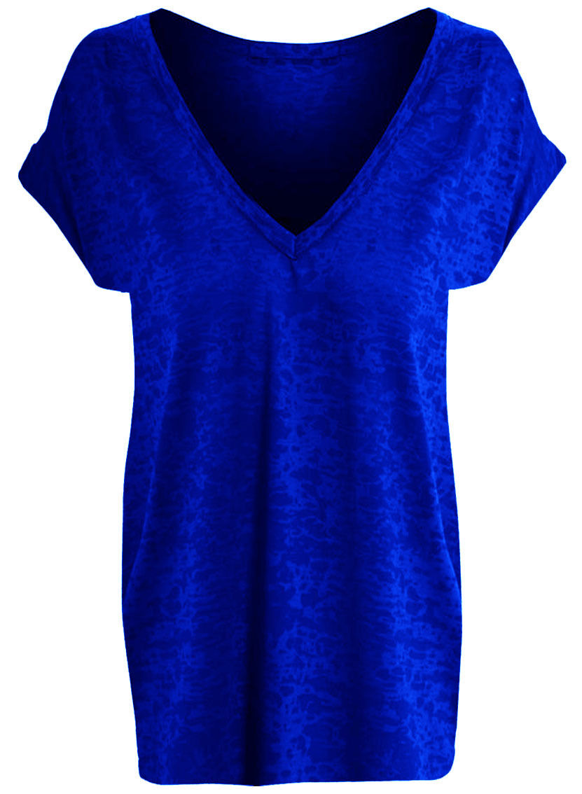 Womens Burn Out Batwing Top Ladies Casual Baggy Fit V Neck T-Shirt Top Size 8-26