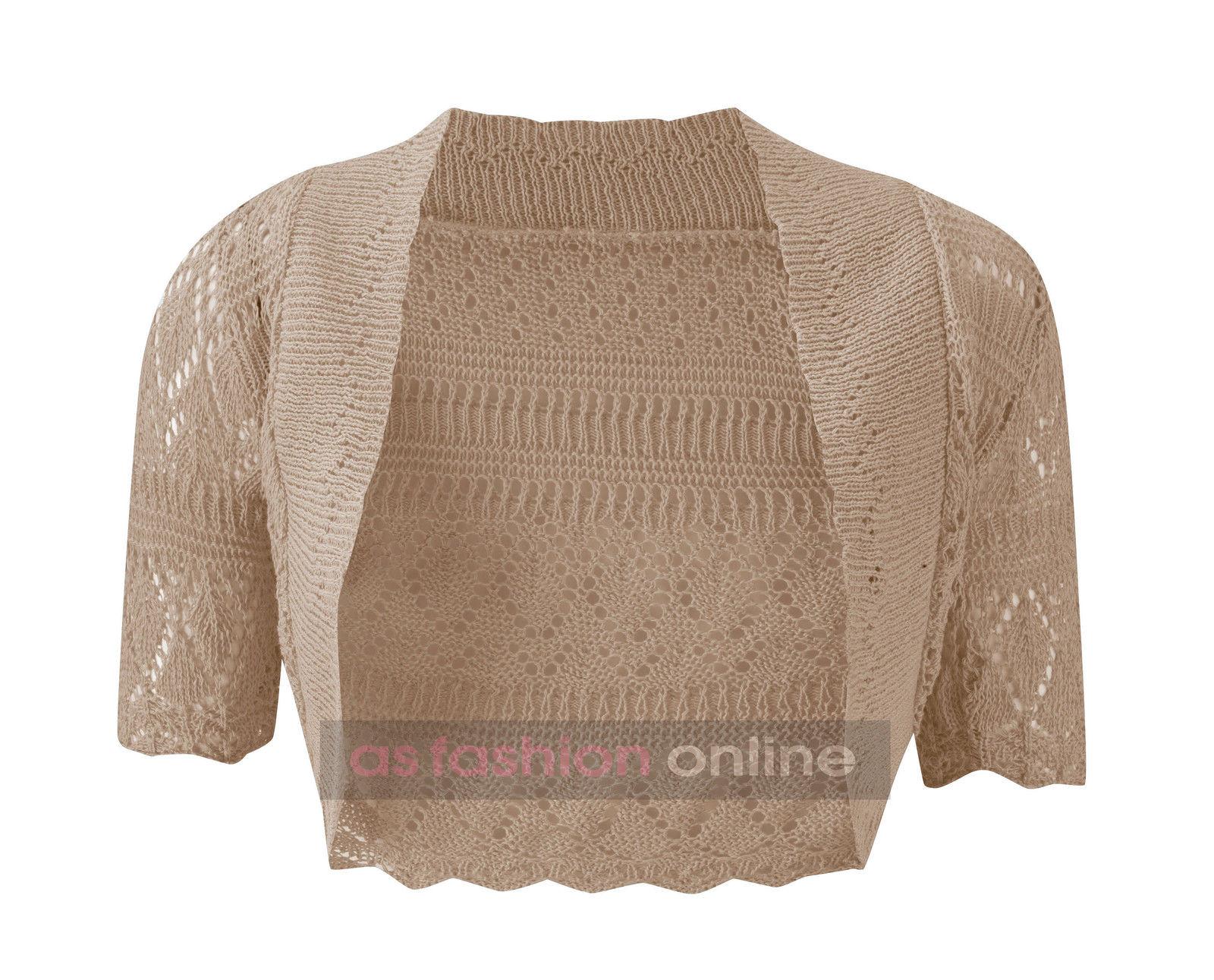 Crochet Shrug : Womens-Crochet-Shrug-Ladies-Knitted-Bolero-Cardigan-Cover-Up-Top-Sizes ...