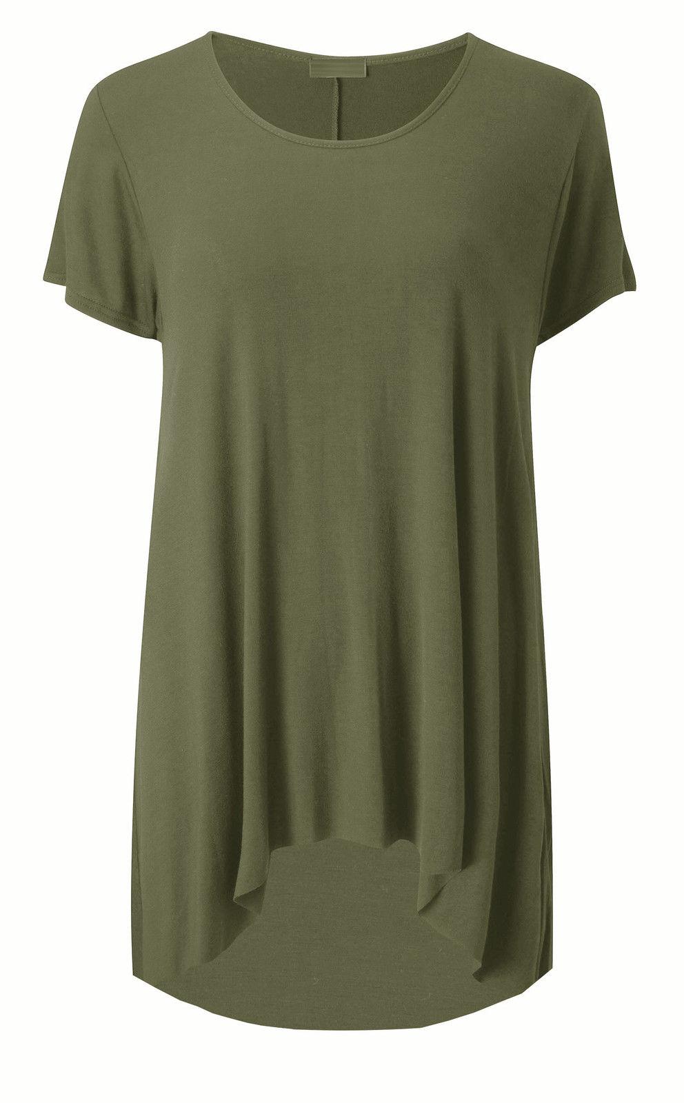 Womens Dip Hem Casual Baggy T Shirt Top Ladies Short Sleeve Tunic Dress Size8-22